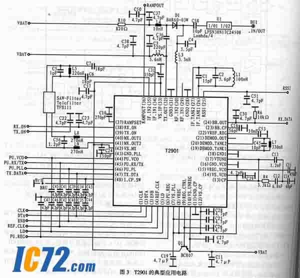 芯片内集成了一个5位D/A转换器以控制片上变容二极管.