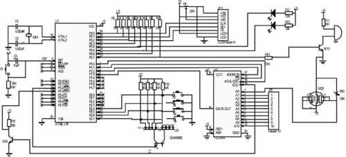 单片机相连接,声光报警器电路使用的是蜂鸣器和发光