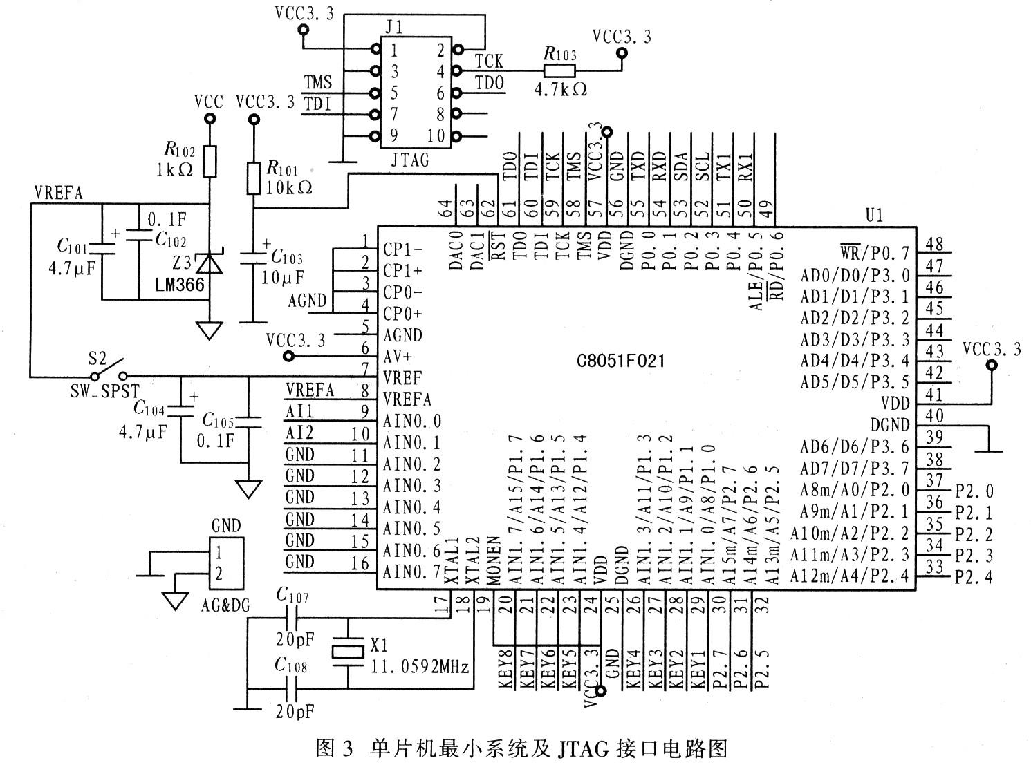 单片机最小系统及jtag接口电路图