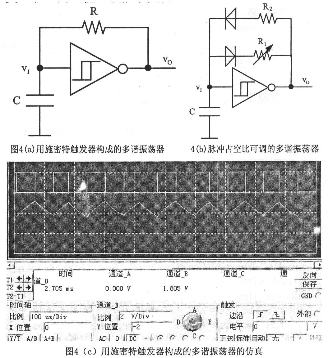 用555定时器组成的无稳态多谐振荡器