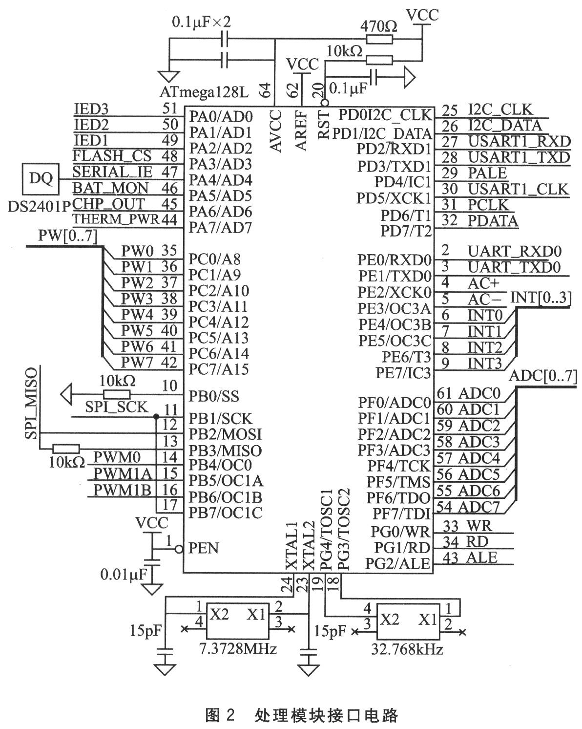802.15.4标准的射频收发器。该器件包括众多额外功能,是第一款适用于ZigBee产品的RF器件。它基于Chipcon公司的SmartRF03 技术,以0.18 m CMOS工艺制成,只需极少外部器件,性能稳定且功耗极低;具有工作电压低(2.1~3.6 V均可工作)、能耗低、体积小等非常适合于集成的特点;采用QPSK调制方式,最大收发波特率250 kb/s,外部采用SPI的接口,可以直接和微处理器芯片ATmega128L相连接。传输模块接口电路如图3所示。  2.3 传感器模块设计 传感器模块采用的是数