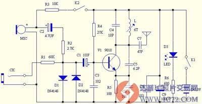 自制简易无线调频话筒的电路图