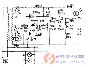 光控路灯自动控制器电路图
