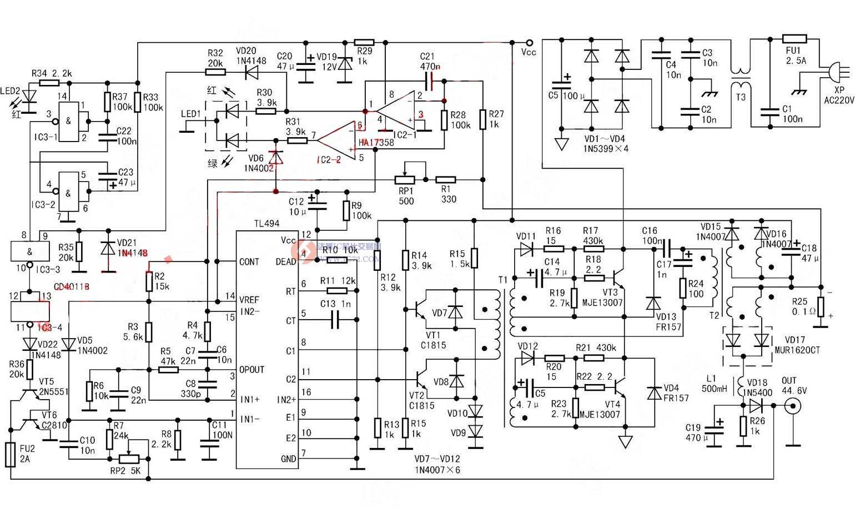tl494电动车控制器电路图   使用tl494 lm358芯片的48v电动车充电器无