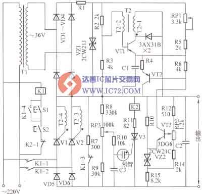 电路工作原理:由图可知,该电路由vd5,vd6和v1,v2组成单相半控整流电路