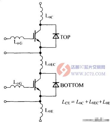 简单两单元igbt模块的寄生电感电路