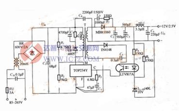 外部限流12v/30w开关稳压电源电路图