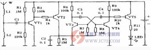 使pnp管vt2截止,由vt3和vt4组成的多谐振荡器不工作