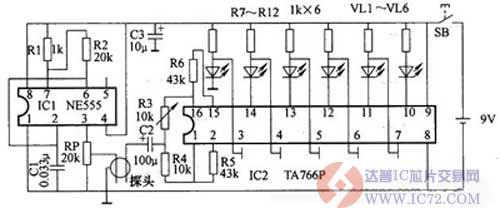 水质检测器电路 - 电路图