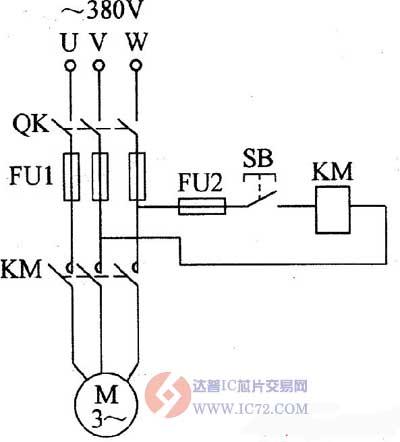 三相异步电动机点动控制电路