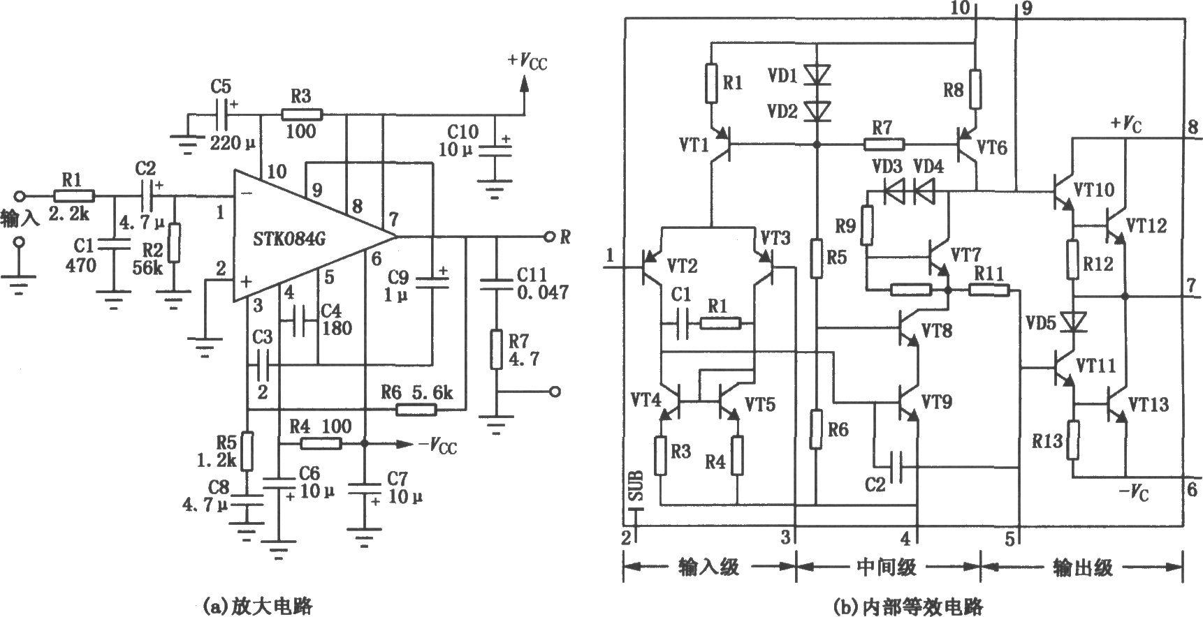 vtl和vt6为恒流偏置电路,可以抑制电源变动对电路的影响.