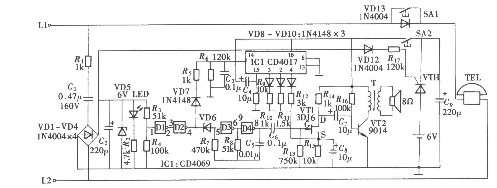 电话铃声渐响电路是在电话机外另加的附属装置,这套附属装置自己产生所需要的铃声信号,由电话线送来的铃声信号只作为渐响电路的控制信号。该电路中,由门电路CD4069组成的多谐振荡器来产生铃声信号,由一只场效应晶体管通过其互导Gm的变化来控制振荡器音量的放大和输出。而Gm的变化是由电话线送来的铃声的次数通过CD4017的换挡功能而实现的。电路的组成如图所示。