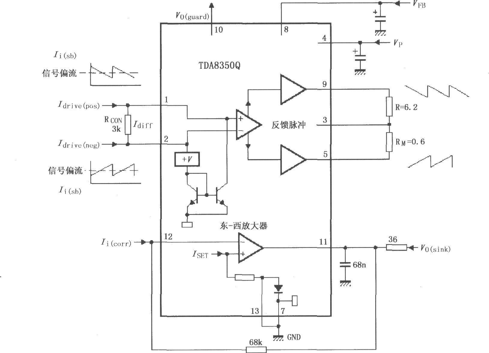如图所示为tda8350q的测试电路,该电路是在推挽功率放大器输出端用