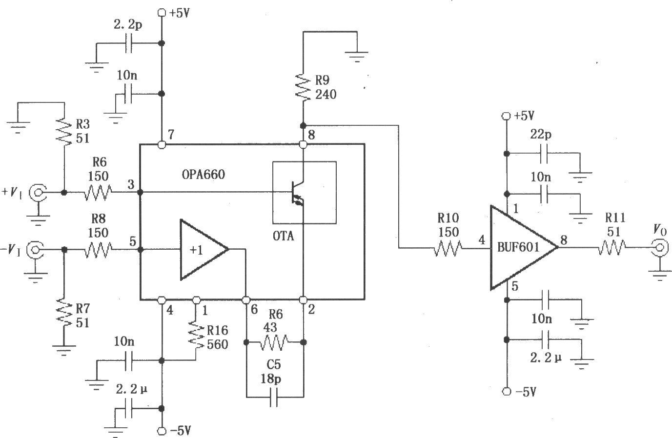 BUF601构成的400MHz差分放大电路。差分信号电压VI、-VI分别经过150电阻和51匹配电阻加到OPA660内部OTA的3脚和 1放大器输入端5脚,由 1放大器6脚输出到OTA的2脚,差分放大后由OPA660输出端8脚送到缓冲放大器BUF600,经过缓冲放大器BUF601缓冲后输出。