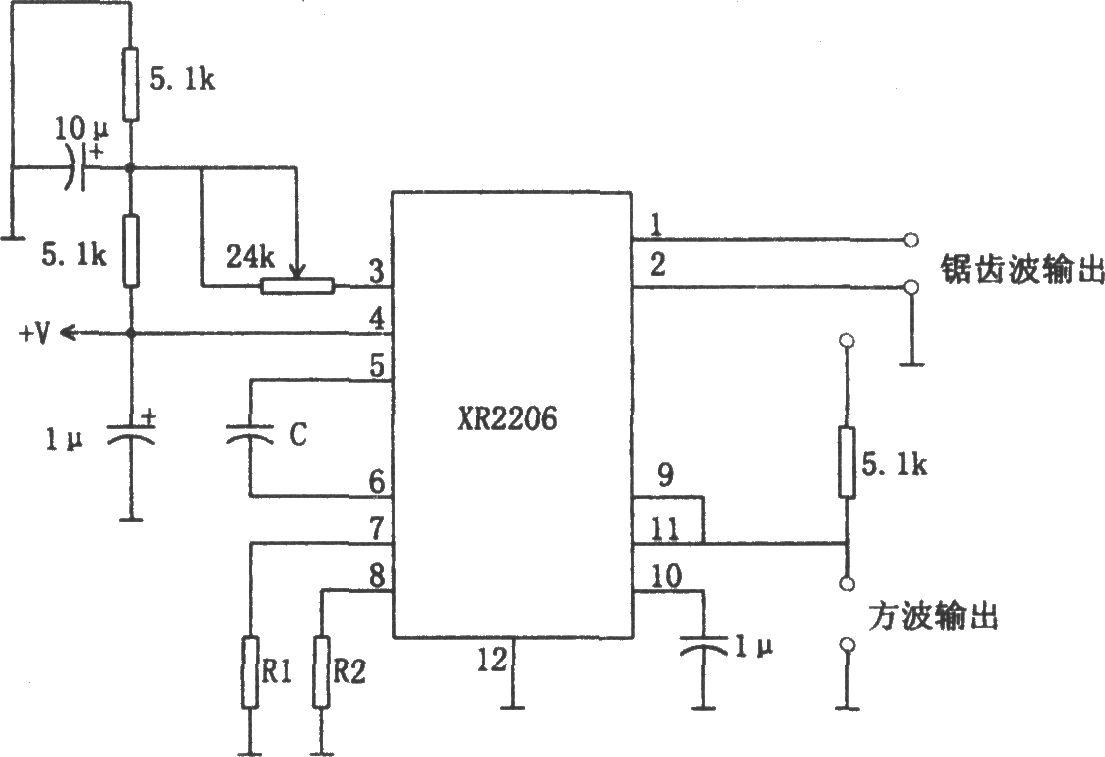 xr2206构成的方波和锯齿波振荡器