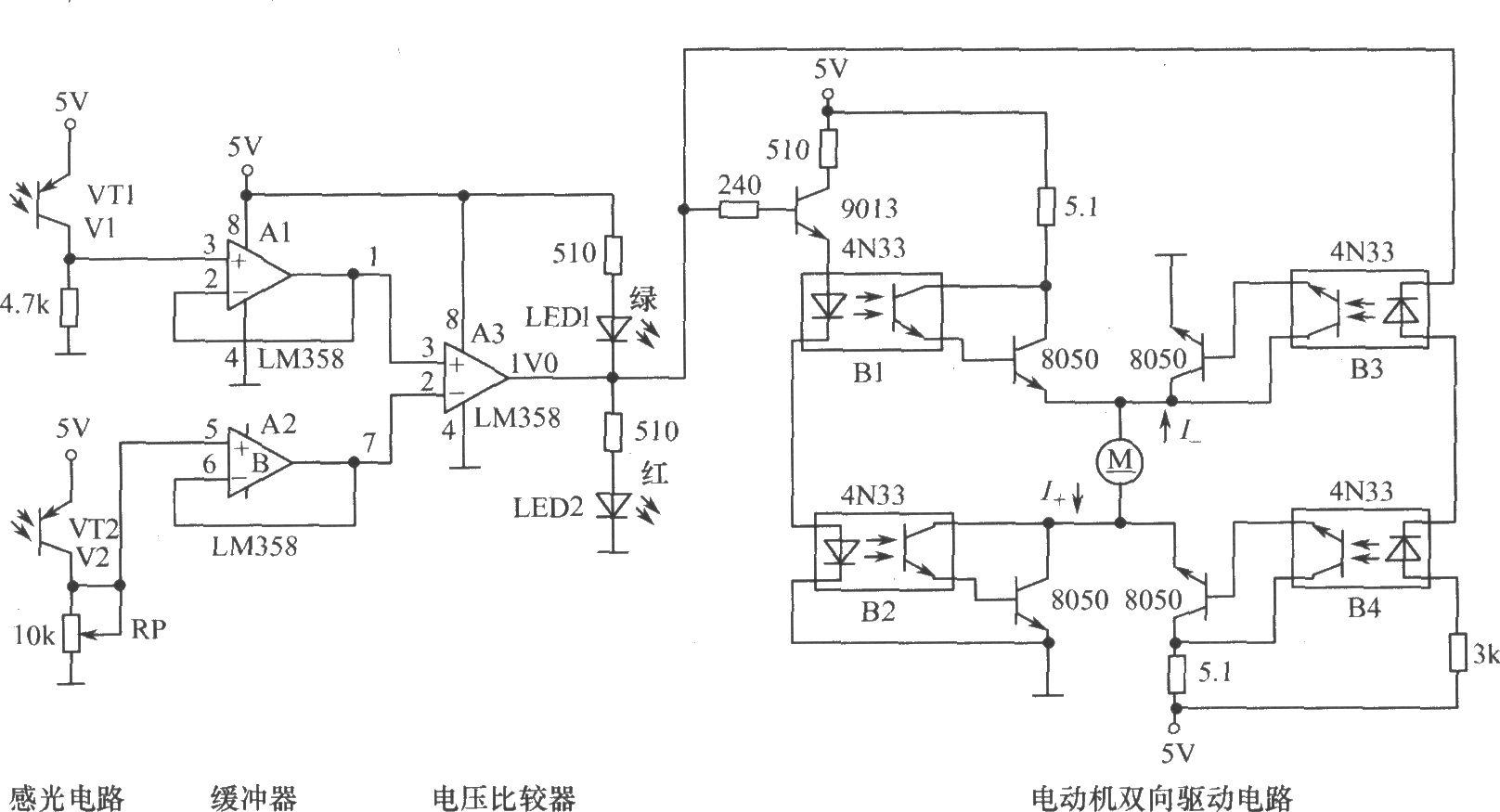 为了在实验室中形象地模拟演示向日葵现象,设计了如图所示的电子线路,它结构简单,制作、调试容易,工作可靠和抗干扰性好,又生动有趣,达到良好的效果。元器件选择:VT1、VT2可用5mm如3DU12等,若用3mm的3DU112等则更为小巧。VT1、VT2的感光面(顶部)应平行。直流减速电动机可选用一般微小型的,如本机型号RS-545126000-600K(即额定电压为12V,空载转速为6000r/min,减速比为600)等。其余元器件可见图标示。