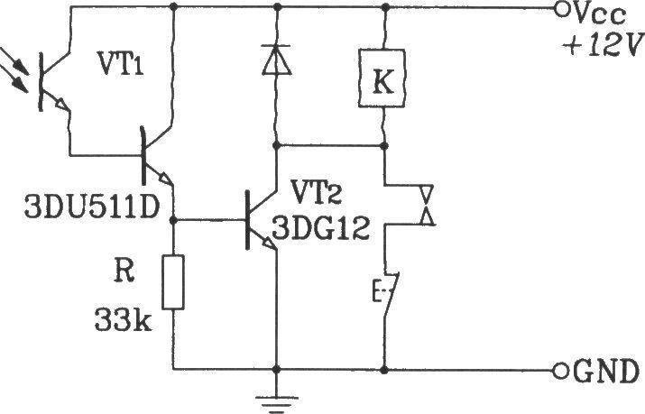 型光敏三极管构成带自锁功能的光电控制继电器电路图