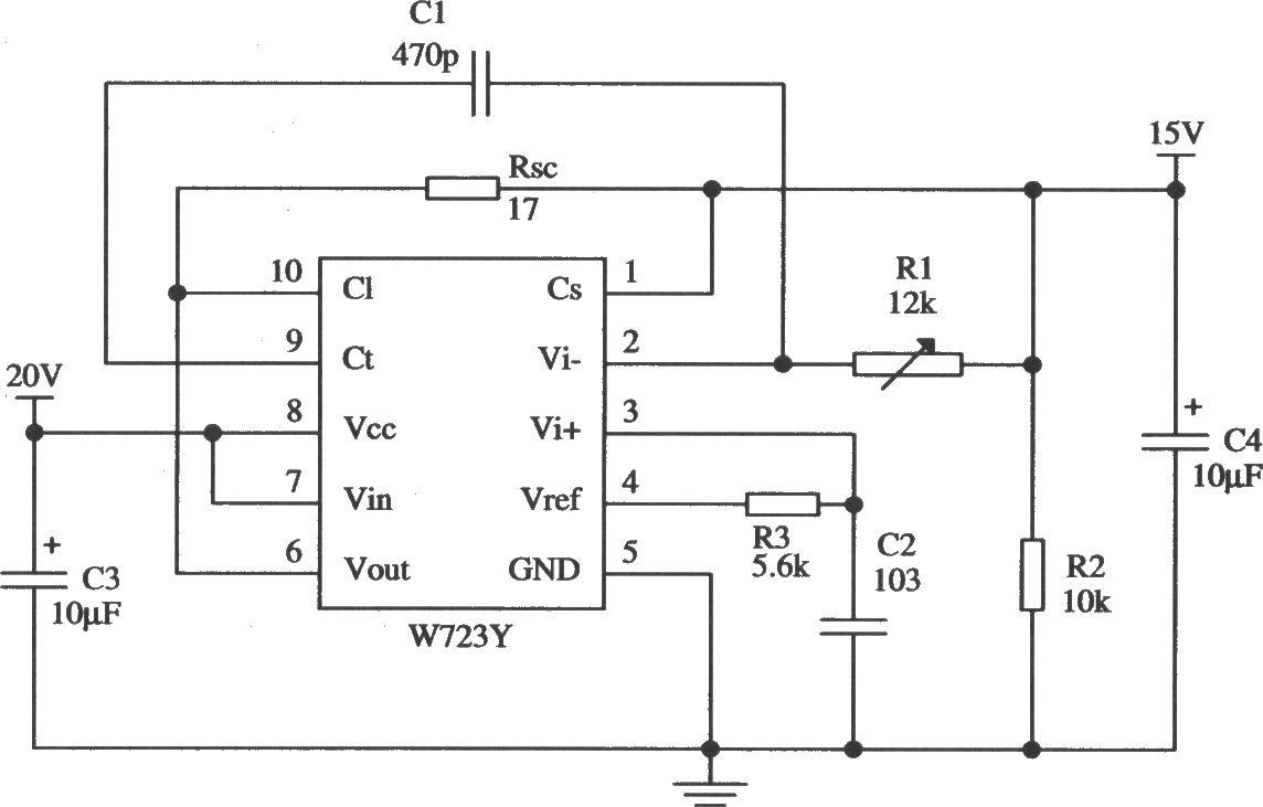 w723的高压限流型保护应用电路