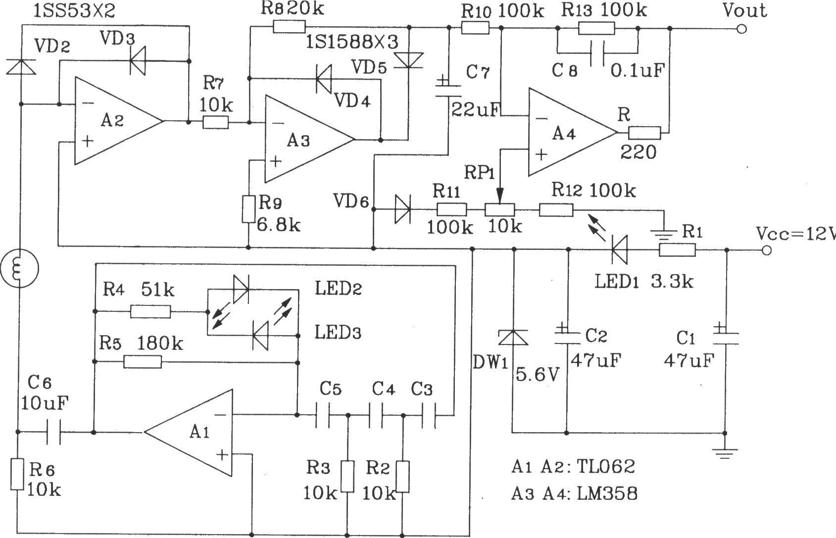 阻抗式湿敏元件简单应用电路 湿敏电路 传感器电路 图