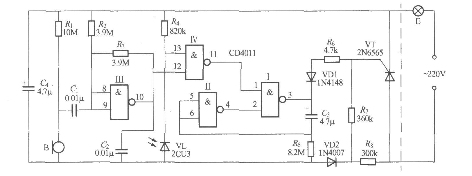 数字电路声光控楼梯延迟开关电路(2)