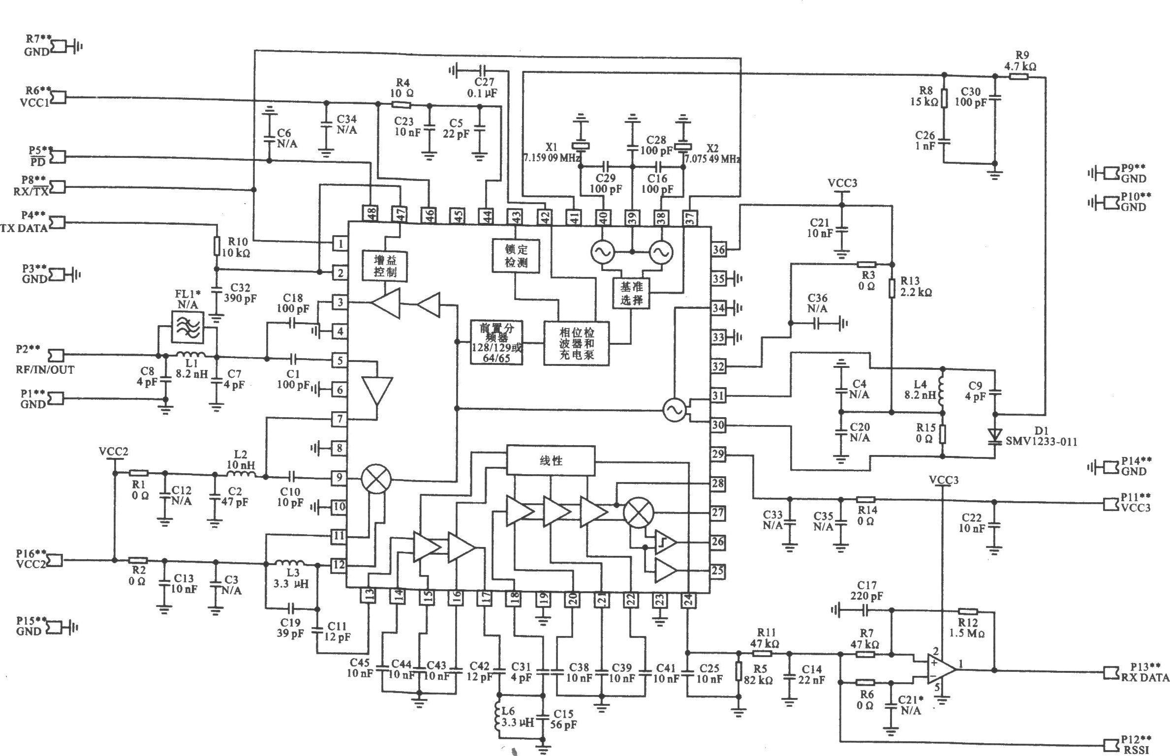 本电路图所用到的元器件: RD0300 RD0300是采用单变换外差式无线电体系结构,专为低成本设计的收发器模块。它由RRF2905收发器芯片加外围元件及PCB板装配而成,使用方便。RD0300应用于无线键入系统及需要发射和接收数字信号的装置中。 主要技术特点如下: 工作频率为916 MHz; 数据传输速率为l28 Kb/s; 接收灵敏度为-90 dBm; 最大输出功率为2 dBm; 工作电压为2.