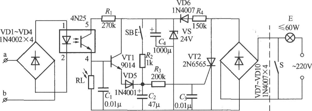 本电路图所用到的元器件: 4N25 9014 22N6565  如图所示为电话控制自动灯电路。当夜间电话铃响起或主人拿起听话筒拨号时,电灯就会点亮;电话铃停(无人接听)或挂机后,延迟10~40s,电灯会自行熄灭。另外,该电路还设置了一个轻触发按键,只要按一下按键,灯也会点亮40s左右。