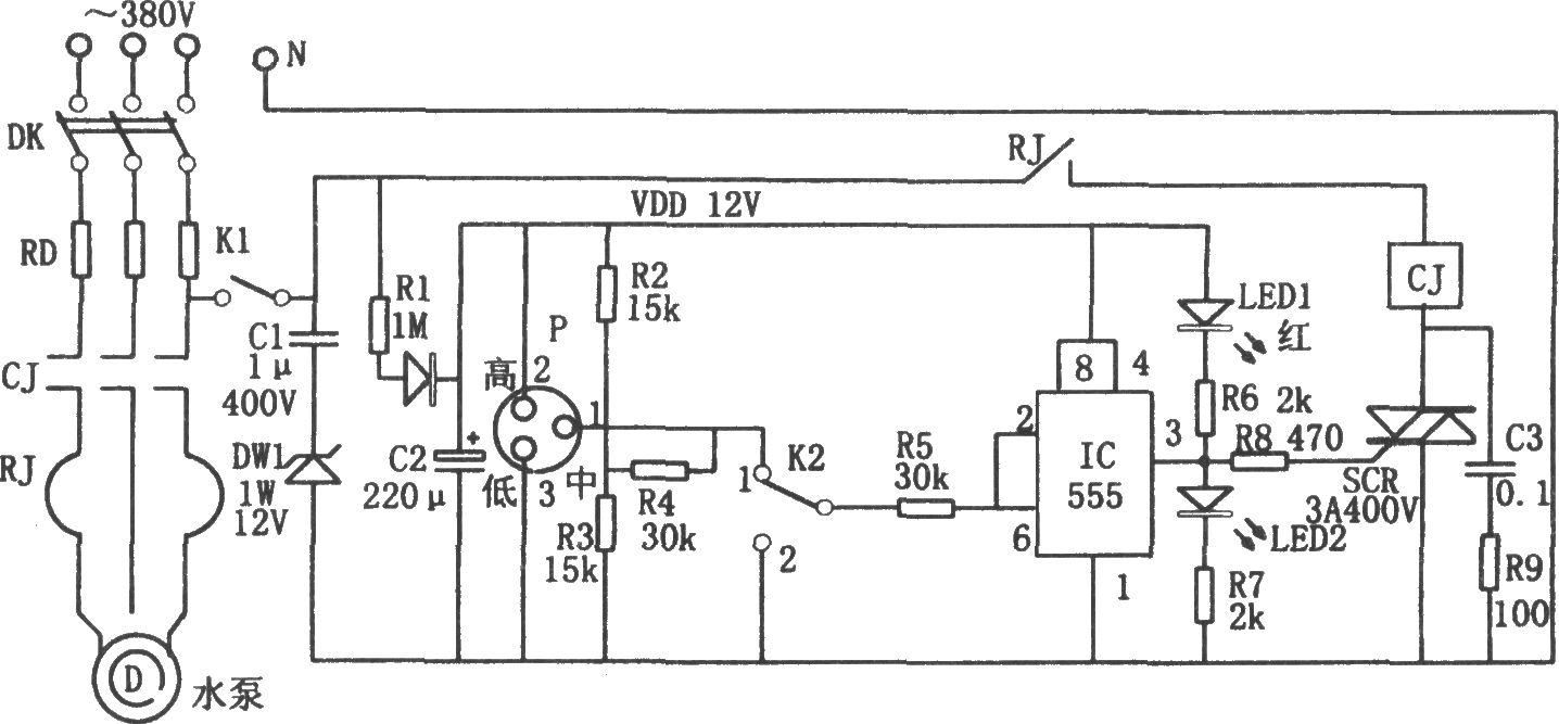555构成的无塔增压供水装置液位控制电路图片