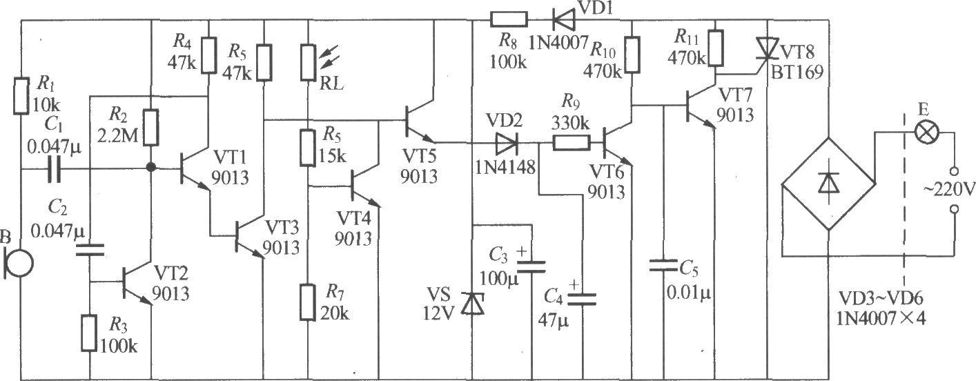本电路图所用到的元器件: BT169 9013  如图是采用正反馈式音频放大器的声、光控楼梯走道延迟照明开关,它的声控灵敏度较高,夜间,一般的谈话声或脚步声就能触发电灯E点亮。
