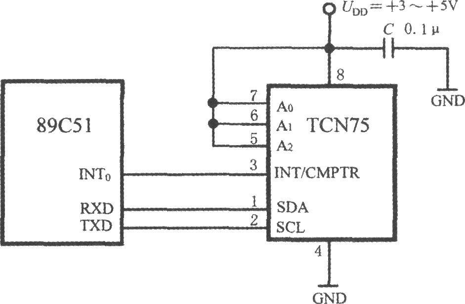 带二线串行接口智能温度传感器tcn75与89c51单片机的接口电路
