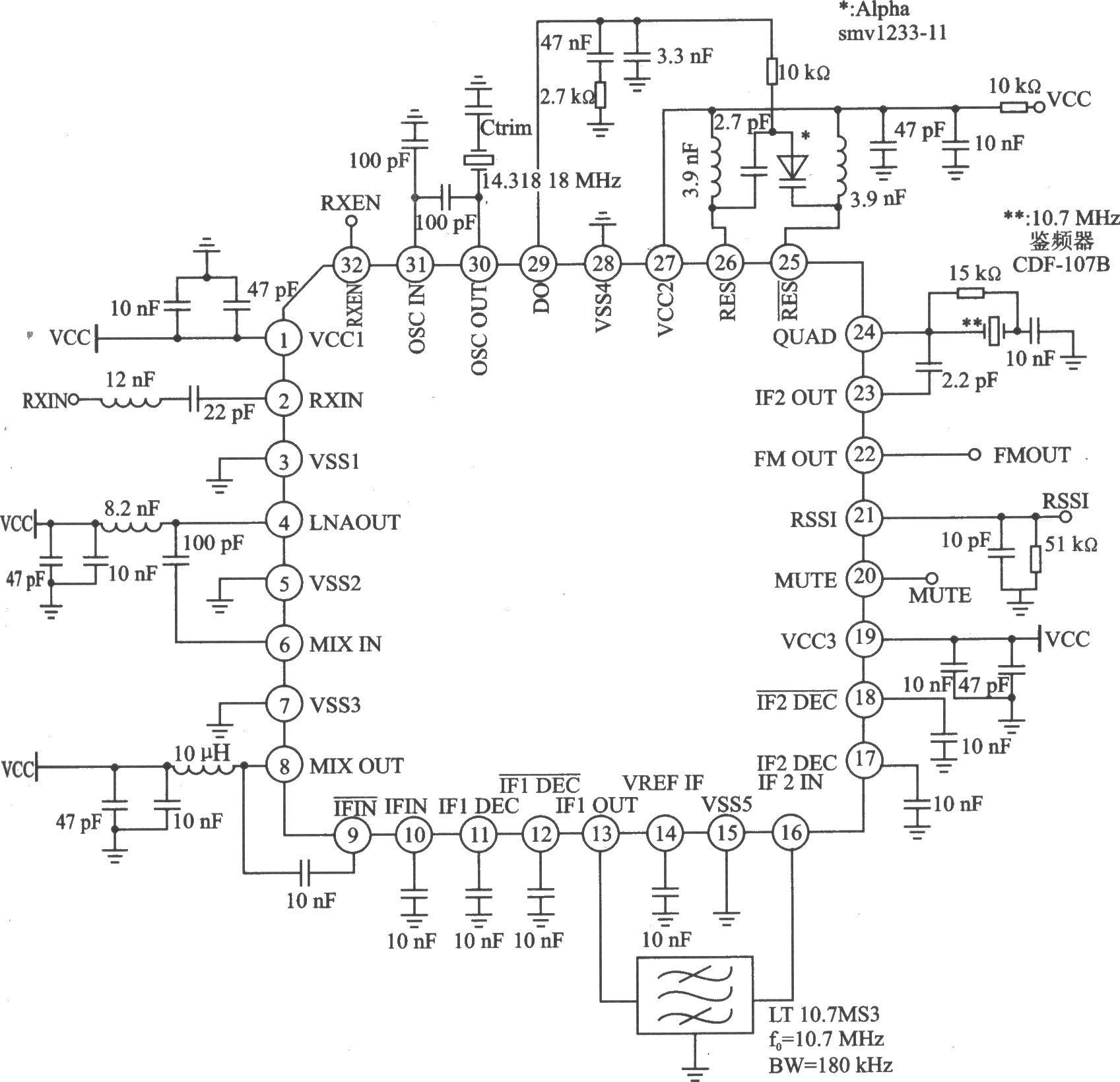 适用于无线鼠标、无线放大器/扩音器/扬声器/耳机和无线汽车报警系统等领域。主要技术特点如下:RR频率为300~1000 MHz 5FM/FSK解调方式;212作电压为2.7~5.0 V 灵敏度为-97 dBm(中频带宽=15kHz,RF频率-915 MHz,信噪比=8 dB);工作电流为l0 mA,待机最大电流为l A;作温度为-10~60。 应用电路(906 MHz)