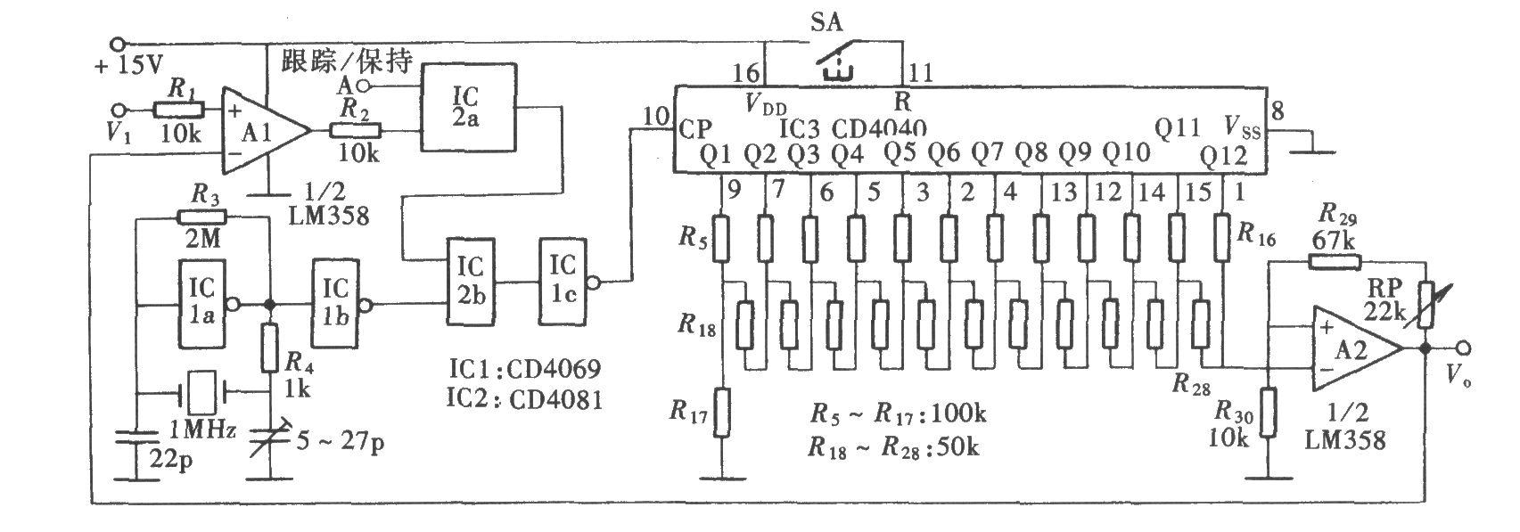 计数式峰值保持电路(cd4069,cd4081)