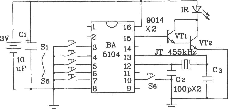 BA5104/5204是一种新型8通道红外遥控发射/接收专用集成器件。其特点是用它构成的遥控电路外转元件少,工作可靠通用性好,成本低,无须调试,最适合于专业厂家开发新产品和广大电子爱好者制作各种红外遥控电路。由于它采用大规模CMOS工艺制成,因此器件本身耗低,电源电压范围宽(2.