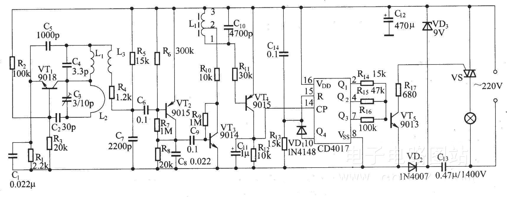 遥控调光调速接收器电路原理图