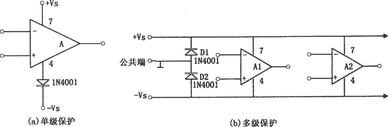 图(a)为单级放大器的保护电路,图(b)为多级放大电路的保护电路.