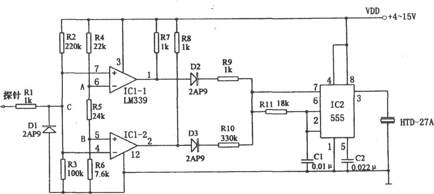 555构成的音响逻辑电平探头 - 专用测量/显示电路