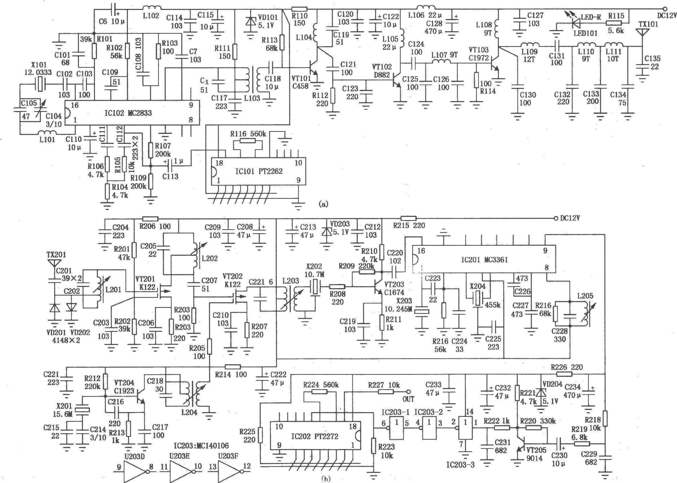 远距离编,解码发射/接收电路(mc145026,pt2262)