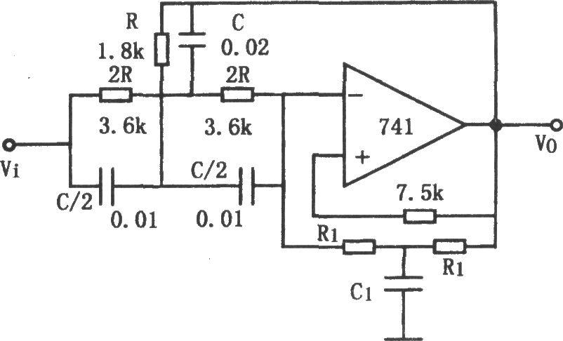 q值可调的带阻滤波器(741) 滤波器 基础电路 电路图