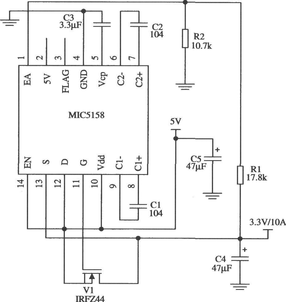 由mic5158构成的输出大电流的线性稳压器电路