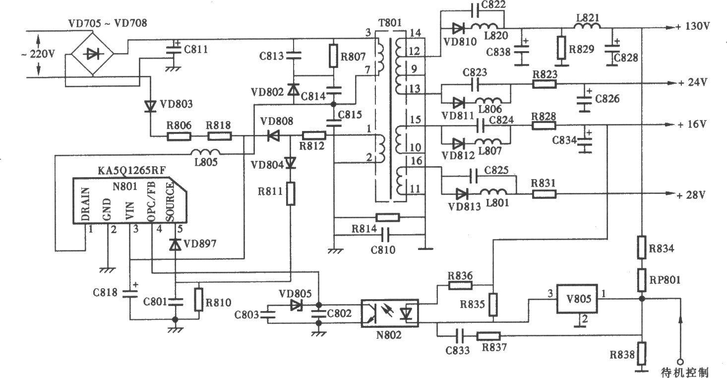 海信tc29118型彩电开关电源(kasql265rf) 电路