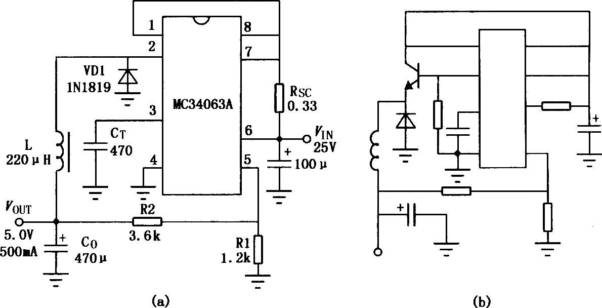 MC3406A是一种新型单片升降压DC-DC变换器集成电路,其输入电压为3~40V,输出电压可调,输出开关电流可至l.5A,并有温度补偿参考电压源,有电流限制功能。该集成电路只需配用少量外部元件,就能组成升压、降压、电压反转型DC-DC变换器,可广泛应用于各种便携式仪器、仪表等设备。 MC3406A用作升压式DC-I)C变换器电路:  用作降压式DCDC变换器:  用作反转式DC-DC变换器:
