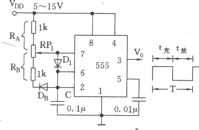 555构成的占空比可调的方波产生器电路